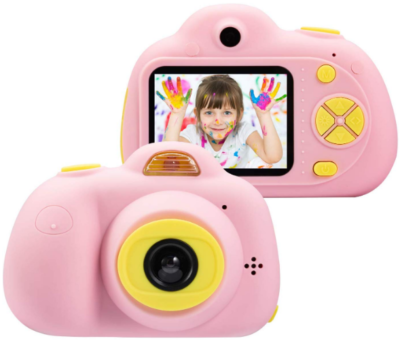 This is an image of girl's digital camera in pink color