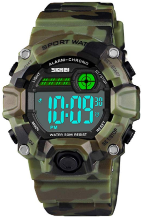 This is an image of kid's digital electronic military watch in camoflage green color
