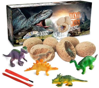 This is an image of girl's dinosaur egg kit pack