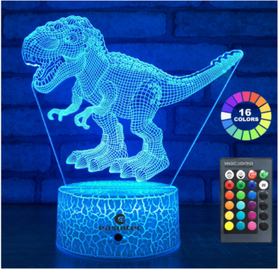This is an image of boy's Dinosaur night light with remote control and 16 changing colors in blue color