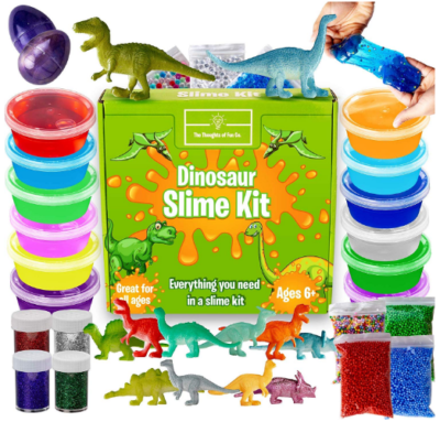 This is an image of boy's dinosaur slime kit pack in colorful colors