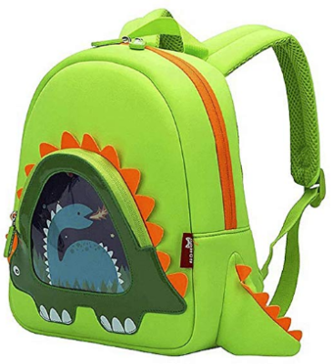 This is an image of boy's toddler backpack with dinosaur in green color