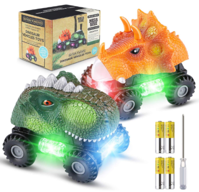 This is an image of boy's dinosaur cars with lights in orange and green colors