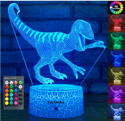 This is an image of boy's Night light lamp with dinosaur design and remote control in blue color