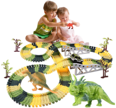 This is an image of boy's dinosaur racing car in green colors