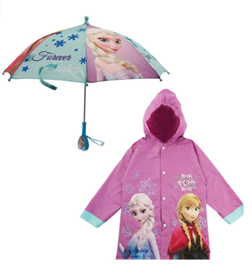 This is an image of a dark purple Frozen rainwear and umbrella for little girls.
