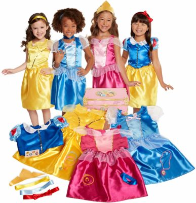 This is an image of 4 little girls wearing Disney costumes.