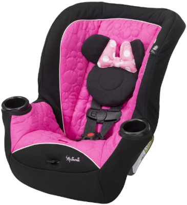 This is an image of infant's disney car seat in pink and black colors