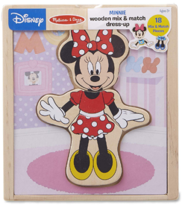 This is an image of girl's wooden play set with desney minnie mouse design in colorful colors