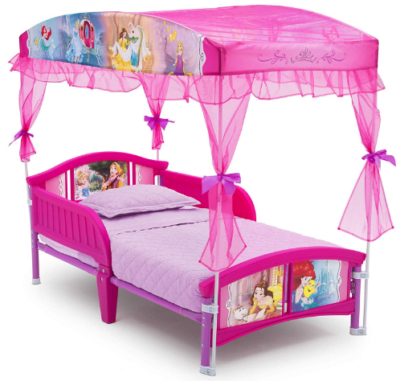 This is an image of toddler's bed with disney princess design in pink color