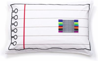 This is an image of a coloring pillowcase with washable markers for kids.