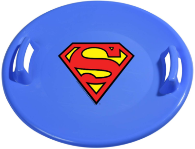 This is an image of kid's stell snow sled with superman logo in blue color