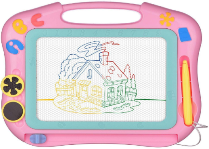 This is an image of girl's drawing doodle board present in pink color