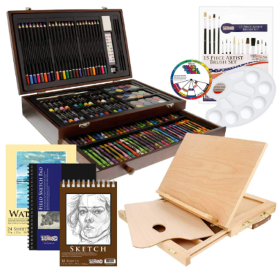 This is an image of boy's box drawing set with various of pencils and sketchs