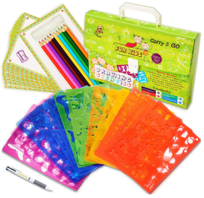 This is an image of girl's drawing stencils set in colorful colors