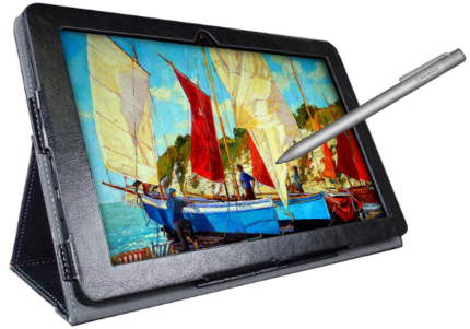 This is an image of girl's drawing tablet with stylus pen in black color