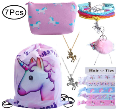 This is an image of girl's drawstring bag with accessories and unicorn design in colorful colors