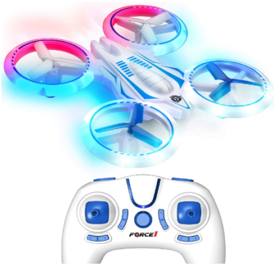 This is an image of girl's Drones with quadcopter and remote control in white and blue colors