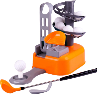This is an image of boy's educational golf set in orange and grey colors