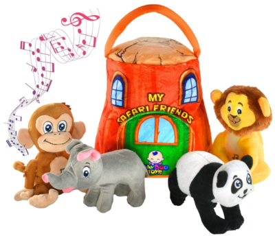 This is an image of boy's animals plush toy set with sounds in colorful colors