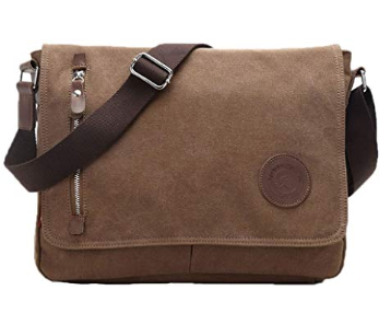 This is an image of a coffee brown messenger bag for boys by Egoelife.