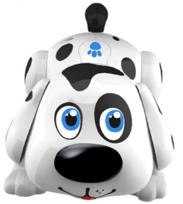 This is an image of girl's robot pet doy harry in white and black color