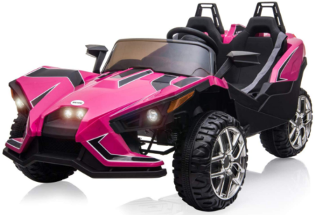 This is an image of girl's power wheels vehicle with 2 seats in pink color