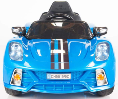 This is an image of girl's power wheels Electric sport car with Remote control in blue color