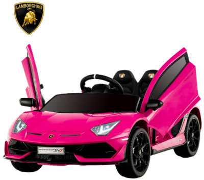 This is an image of girl's power wheels electric ride on lamborghini car in pink color
