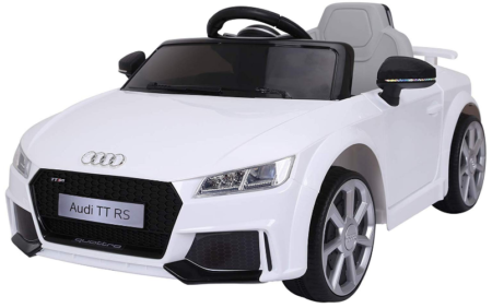 This is an image of girl's power wheels Audi sports car in white color
