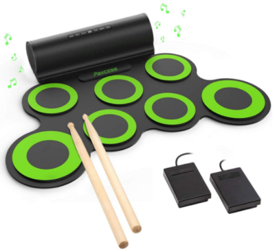 This is an image of kid's electronic drum set in black and green colors