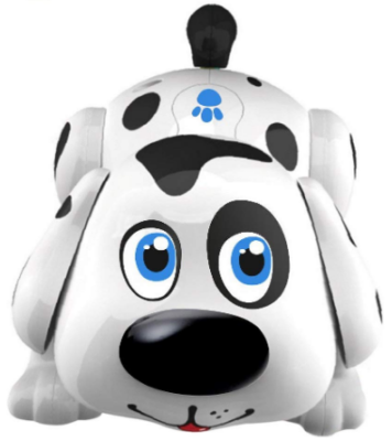 This is an image of boy's electronic pet dog in black and white color