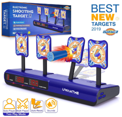 This is an image of kid's electronic shooting target toy in blue colors