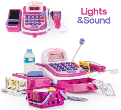 This is an image of girl's electronic toy cash register in pink color
