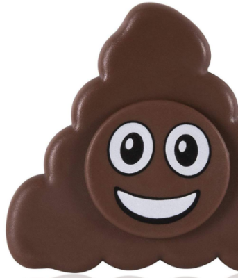 This is an image of emoji fidget spinner with poop design in brown color