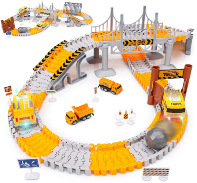 This is an image of boy's road race tracks playset in gray and orange colors