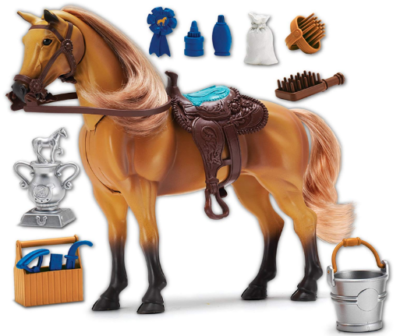 This is an image of toy's deluxe horse set in brown color
