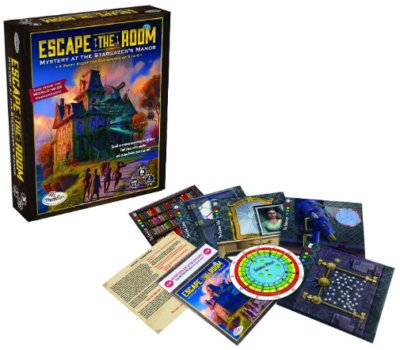 This is an image of kid's escape the room stargazers manor board game
