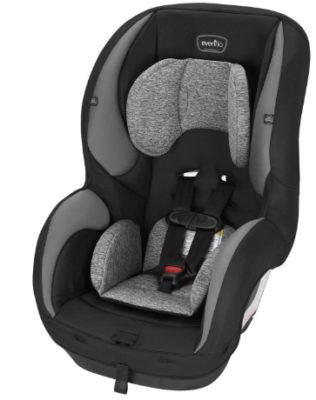 This is an image of infant's car seat by evenflo in black and gray colors