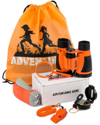 This is an image of boy's Camping and exploration outdoor kit containing Backpack, Binoculars, Flashlight, Compass and Whistle in orange color