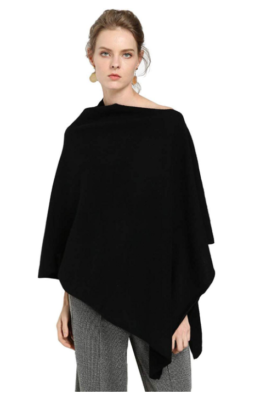 This is an image of a lady wearing a black luxurious cashmere by Fincati.