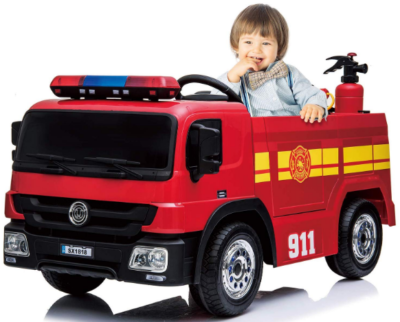 This is an image of girl's power wheels fire truck in red and black colors