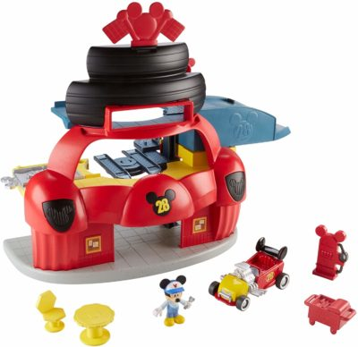 This is an image of a red Mickey Mouse and Roadster garage playset for kids by Fisher-Price.