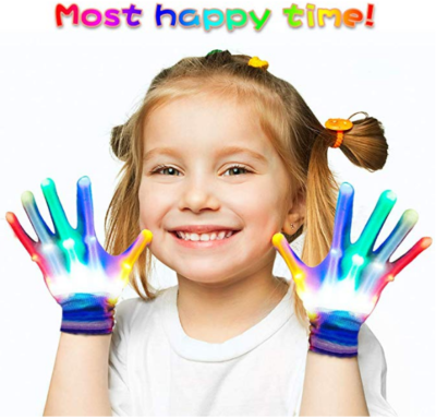 This is an image of girl's Flashing LED light gloves in colorful colors