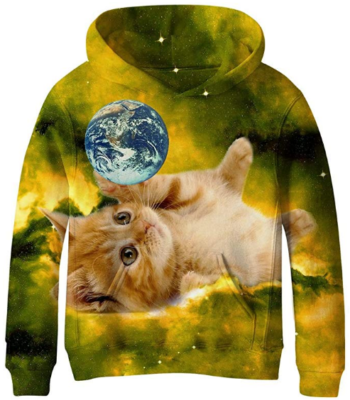 This is an image of girl's sweatshirts with cat and space graphics in black and yellow colors