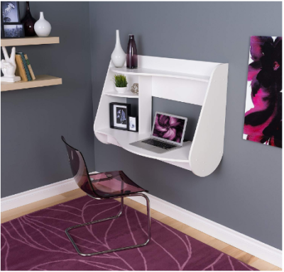 This is an image of girl's floating desk in white color
