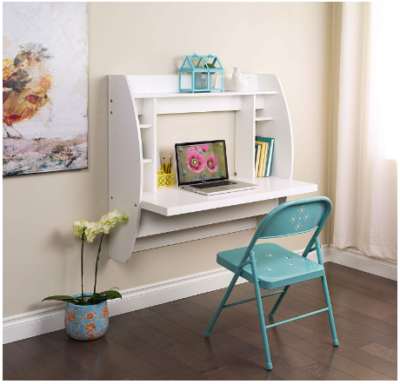 This is an image of girl's floating desk with storage in white color