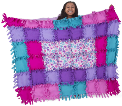 This is an image of girl's Flower fleece quilt in colorful colors