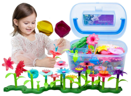 This is an image of girl's flower garden building kit toy in colorful colors
