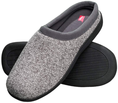 This is an image of boy's foam indoor slipper shoe in gray color